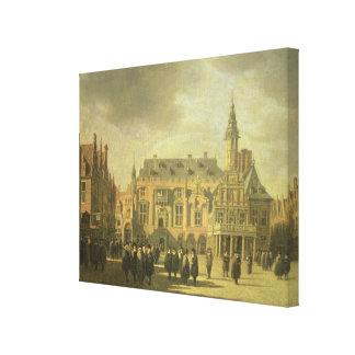 Haarの市場が開かれる広場の市庁舎の眺め キャンバスプリント