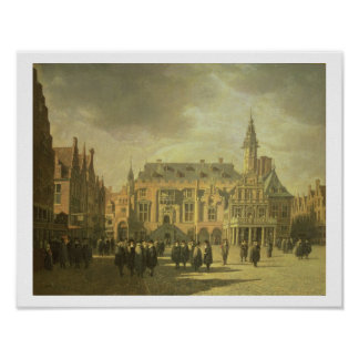 Haarの市場が開かれる広場の市庁舎の眺め ポスター