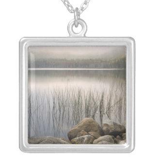 Hadlockの上部の池上の霧を通した日没 シルバープレートネックレス