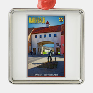 Hahnbach -都市ゲート シルバーカラー正方形オーナメント