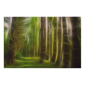 """HaidaのGwaiiのフラクタルの森林36"""" x24""""木製の壁の芸術 ウッドウォールアート"""