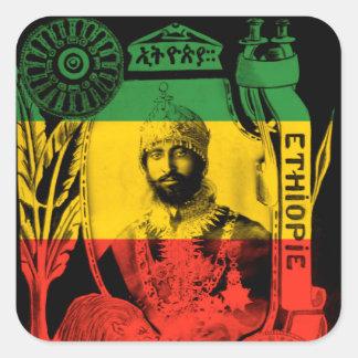 Haile Selassieのステッカーの赤い金ゴールドの緑のラスタ スクエアシール