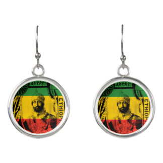 Haile Selassieのスライバによってめっきされるラスタの低下のイヤリング イヤリング