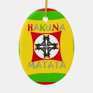 Hakuna Matataのラスタ色の赤い金緑 セラミックオーナメント