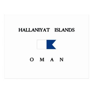 Hallaniyatの島のオマーンのアルファ飛び込みの旗 ポストカード