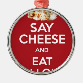 HALLOUMIのギリシャ人のチーズを食べて下さい メタルオーナメント