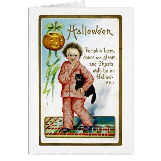 Hallowe'enのカボチャ顔 カード