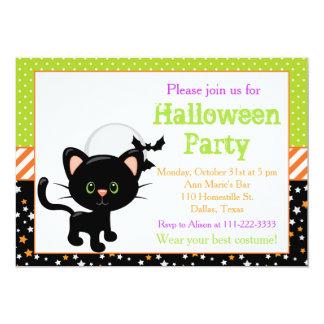 Halloween Black Cat and Full Moon カード