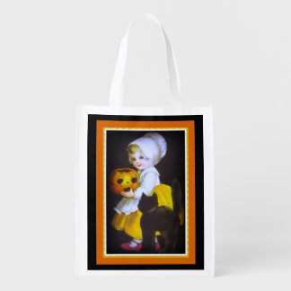 Halloween Black Kitten and Pumpkin Treat Bag エコバッグ
