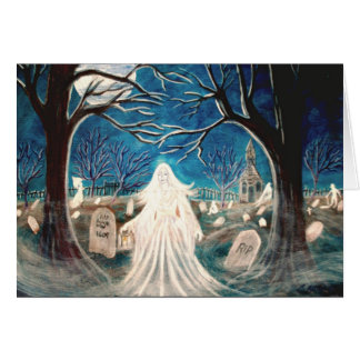 Halloween Greeting Card,graveyard,ghost,tombstones カード
