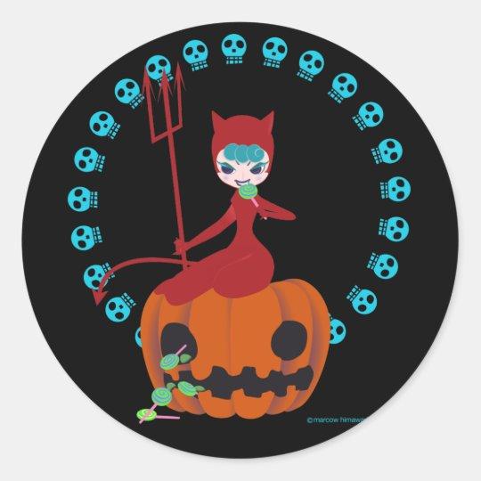 Halloween kitty(red) ラウンドシール