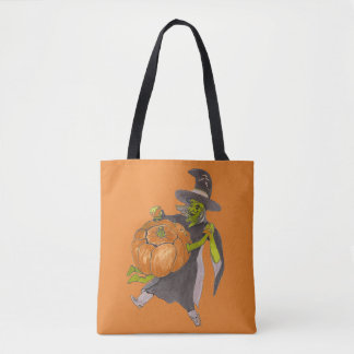 Halloween Witch and Pumpkin Dance Funny Designed トートバッグ
