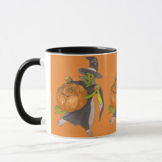 Halloween Witch and Pumpkin Dance Funny Designed マグカップ