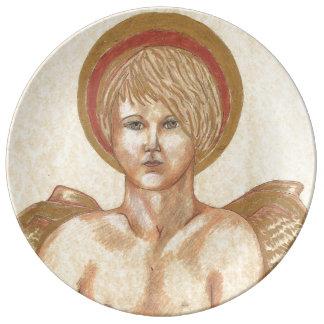 Haloedの天使の絵画のプレート 磁器プレート