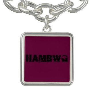 HAMbWGのさくらんぼの正方形のチャームブレスレットは、めっきされて銀を着せます チャームブレスレット