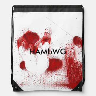 HAMbWGのドローストリングのバックパック-赤いスケートボーダーのイメージ ナップサック