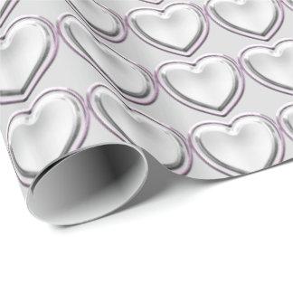 HAMbWGの包装紙-銀製のハートw/lghtのpnk ラッピングペーパー
