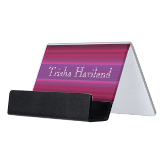 HAMbyWGの名刺入れ-ピンクのバラ及び紫色 デスク名刺ホルダー