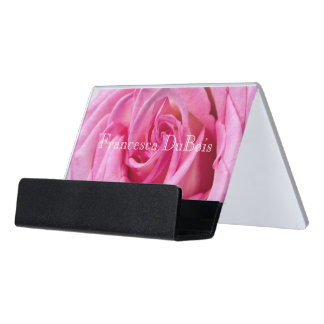 HAMbyWGの名刺入れ-ピンクのバラ デスク名刺ホルダー