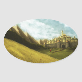 hamelinのgrimmのおとぎ話の雑色のパイパー 楕円形シール