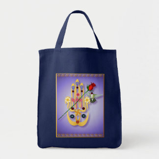 Hamsaおよび花のバッグ トートバッグ