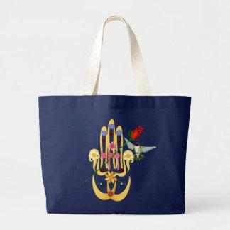 Hamsaおよび花のバッグ ラージトートバッグ