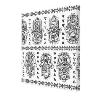 Hamsaのインドの手描きの落書き6 キャンバスプリント