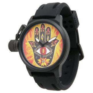 Hamsaのメンズウォッチのゴム製悪のまなざしの火 腕時計