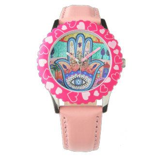 Hamsaの悪のまなざしのJudaicaの腕時計 腕時計