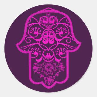 Hamsaの花のピンク ラウンドシール