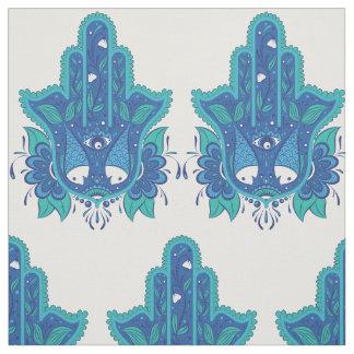 Hamsaの青いデザイン ファブリック