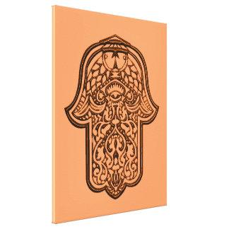 HamsaのHenna手(オレンジ) キャンバスプリント