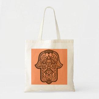 HamsaのHenna手(オレンジ) トートバッグ