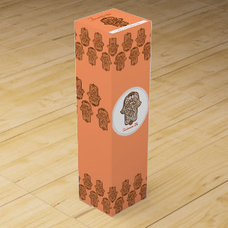 HamsaのHenna手(オレンジ) ワイン ギフト包装
