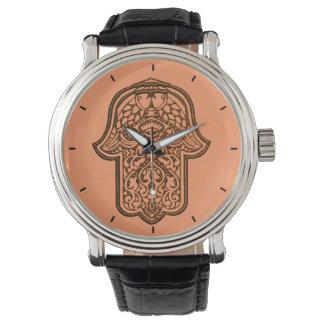 HamsaのHenna手(オレンジ) 腕時計