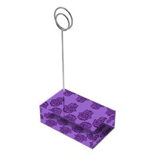 HamsaのHenna手(紫色) テーブルカードホルダー