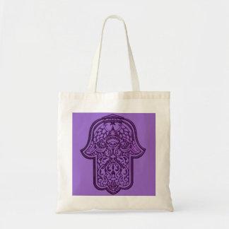 HamsaのHenna手(紫色) トートバッグ
