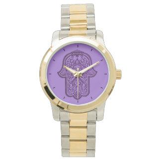 HamsaのHenna手(紫色) 腕時計