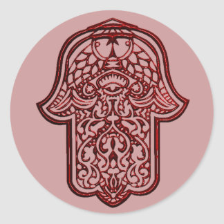 HamsaのHenna手(赤い) ラウンドシール