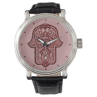 HamsaのHenna手(赤い) 腕時計