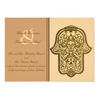 HamsaのHenna手(金) (結婚式) カード