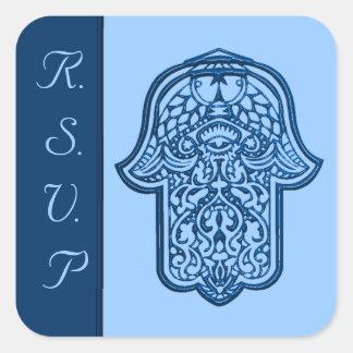 HamsaのHenna手(青い) (結婚式) スクエアシール