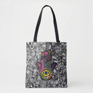 Hamsaカラフルな手描きの手花のスケッチ トートバッグ