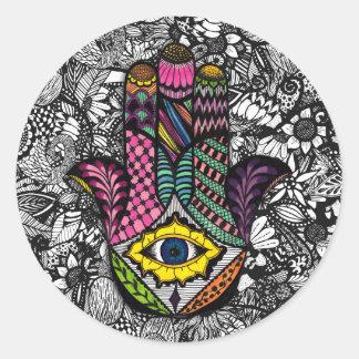 Hamsaカラフルな手描きの手花のスケッチ ラウンドシール