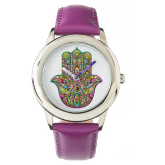 Hamsa手のサイケデリックな子供のステンレス鋼の腕時計 腕時計