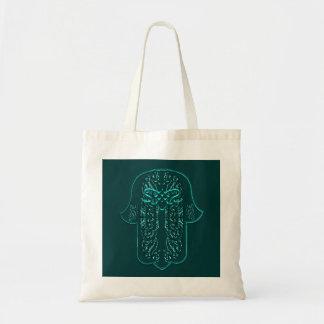 Hamsa手の業績: ハート(ティール(緑がかった色)) トートバッグ