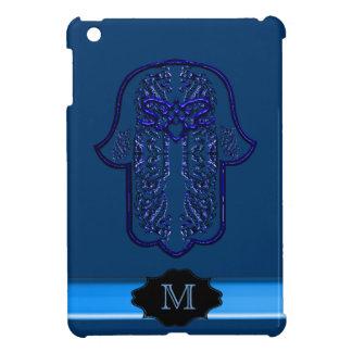 Hamsa手の業績: ハート(モノグラム) (青) iPad miniケース