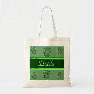 Hamsa手の業績: ハート(結婚式) (緑) トートバッグ
