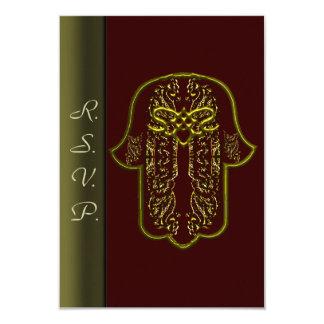 Hamsa手の業績: ハート((金)結婚式) カード
