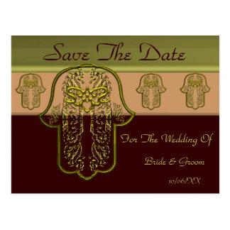 Hamsa手の業績: ハート((金)結婚式) ポストカード